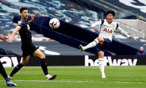 Tottenham Hotspur's Son Heung-min sees his shot hit the post.