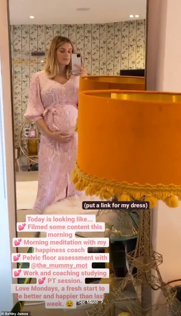 Pretty in pink:Later on in the day, Ashley displayed her incredible curves in a pink snakeskin maxi-dress complete with a plunging neckline and waistband that rested above her bump