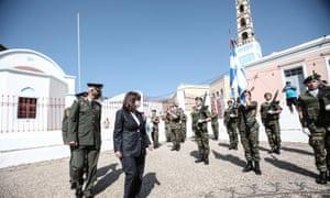 The Greek president, Katerina Sakellaropoulou, visits the island of Kastellorizo on 13 September