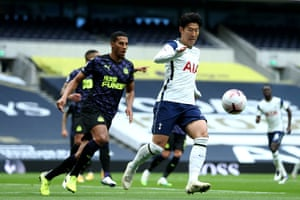 Heung-Min Son of Tottenham Hotspur collects the ball.