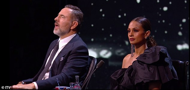 Awestruck: It's clear to see the judges were moved by her performance as David is seen closing his eyes in enjoyment as he mouths along to the words, while Aleshacould barely take her eyes off Belinda