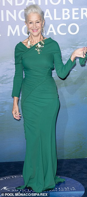 Serving looks: Mirren looked beyond beautiful in a form fitting green gown, while Rebel showcased her trim physique in a metallic off the shoulder dress