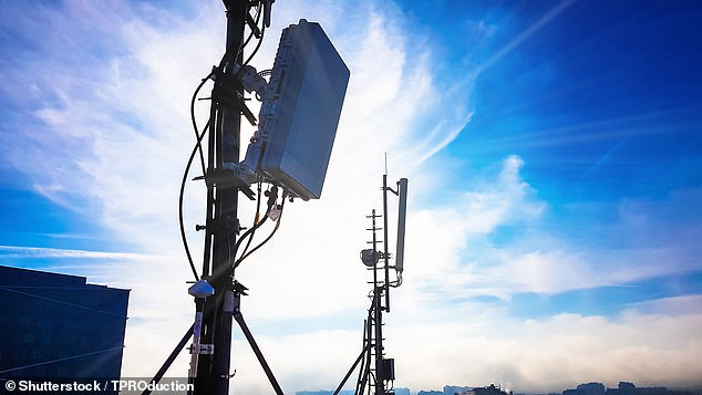 In their study, Professor Mandayam and colleagues modelled the impact of so-called 5G 'leakage' ¿ a phenomenon in which emissions from a transmitter, pictured, would accidentally encroach on neighbouring frequency bands used for other purposes (stock image)