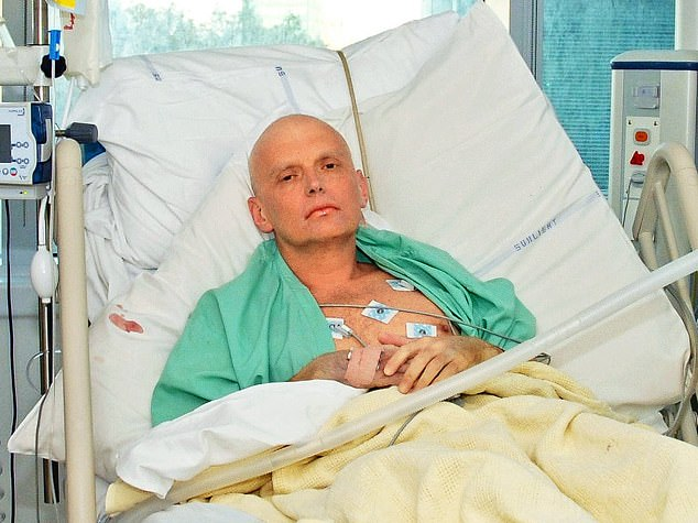 British authorities found that Luogovoy met with Litvinenko (pictured in hospital), a defected Russian spy who had been critical of the state and accused Putin of murder, on the day he was poisoned