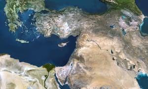 The eastern Mediterranean Sea.