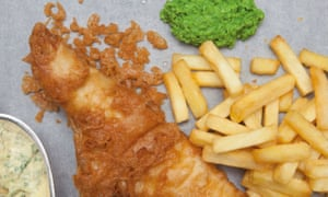 Fish and chips and minted mushy peas by Tim Hughes.