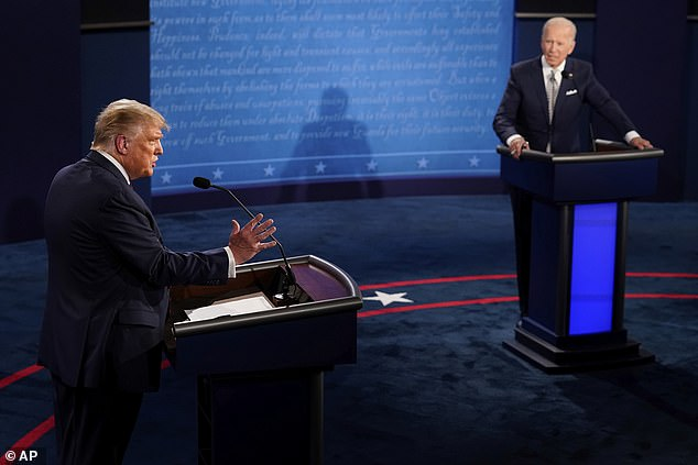 As the US general election gets closer, Microsoft is 'likely to see activity increase after this report was written' in the demand for information. President Donald Trump (left) and Democratic candidate Joe Biden seen here in Cleveland, Ohio on September 29