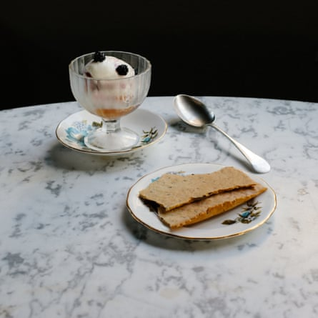 Ice-cream sundae with rosemary sablé biscuits, at Zebra Club at Birch, Hertfordshire.