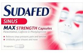 Sudafed Sinus Max Strength capsules, 16 caps, £3.99