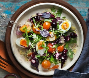Beetroot, soft-boiled egg and horseradish by Jeremy Lee.