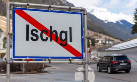 The town sign of Ischgl, Austria, where there was a major coronavirus outbreak in March 2020.
