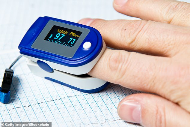 A pulse oximeter, a device that clips on to the end of your finger, can check for low blood oxygen levels