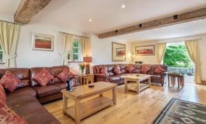 Lounge area at Gray Manes cottage, Somerset, UK