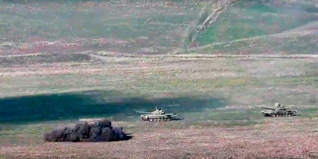 Fighting between Armenia and Azerbaijan has broken out around the separatist region of Nagorno-Karabakh and the Armenian Defense Ministry says two Azerbaijani helicopters have been shot down.