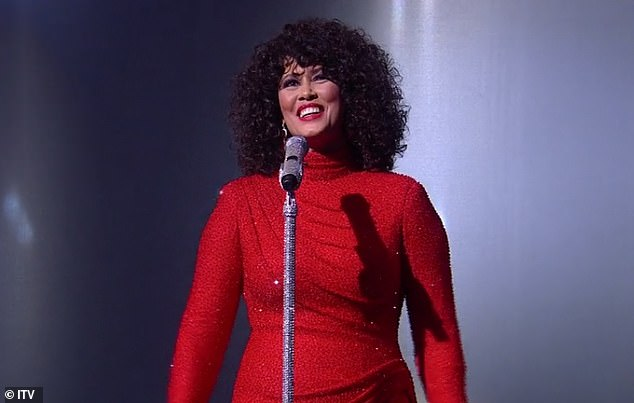 Showstopping:Dressed to impress in a sparkly red dress, single mum Belinda is in it to win it as she gives it her all during the next round of semi final performances
