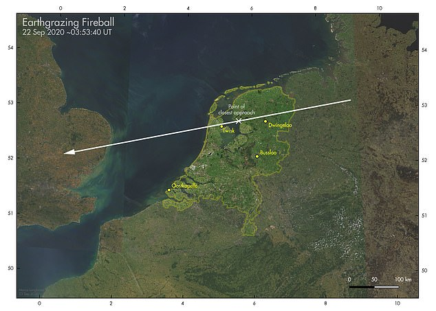 The meteoroid was captured skimming Earth's atmosphere for a few seconds above Germany and the Netherlands before returning on its journey through space