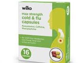Wilko max strength cold and flu capsule, 16 caps, £1