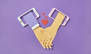 Papercraft Two Crossing Hands From Smartphones.