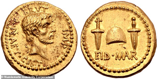 A rare gold coin which commemorates the assassination of the Roman general Julius Caesar (pictured) sold at auction for a record £3.24 million yesterday