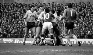 United and Arsenal players scrap at Old Trafford in January 1987.