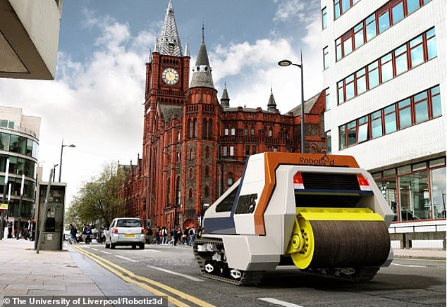 Artist's impression of the autonomous road repair system, which looks part-tank, partroad roller. TheRobotiz3d vehicle should be seen on UK roads next year