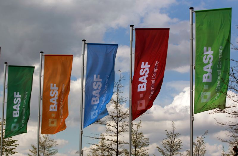 © Reuters. FILE PHOTO: Flags of the German chemical company BASF are pictured in Monheim