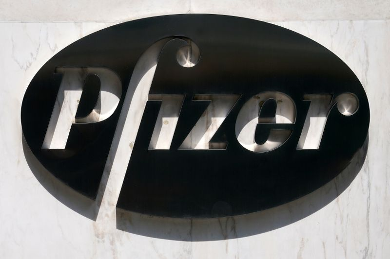 © Reuters. FILE PHOTO: A sign is pictured outside Pfizer Headquarters in the Manhattan borough of New York City