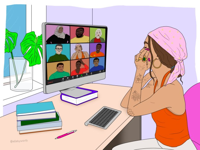 Illustration of a woman sat at her desk talking on a group Zoom call.