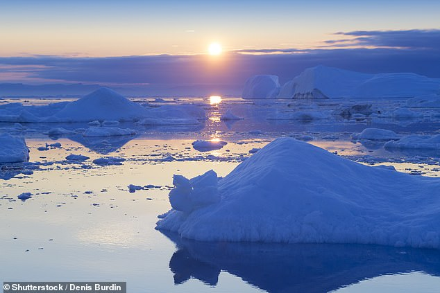 Global warming is being accelerated by the melting of light-coloured Arctic sea ice — which exposes more 'dark' ocean water to absorb more sunlight, as pictured, a study warned