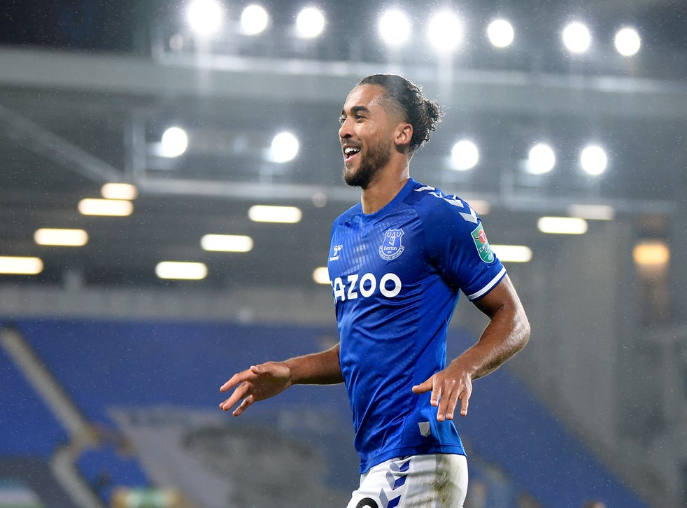 Dominic Calvert-Lewin celebrates scoring against West Ham