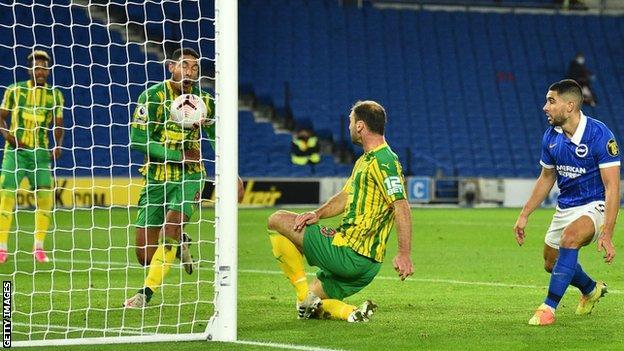Jake Livermore could do little to avoid Branislav Ivanovic's clearance as he registered an own goal for Brighton's opener