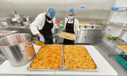Meals being prepared at Akshaya Patra's kitchen in Watford