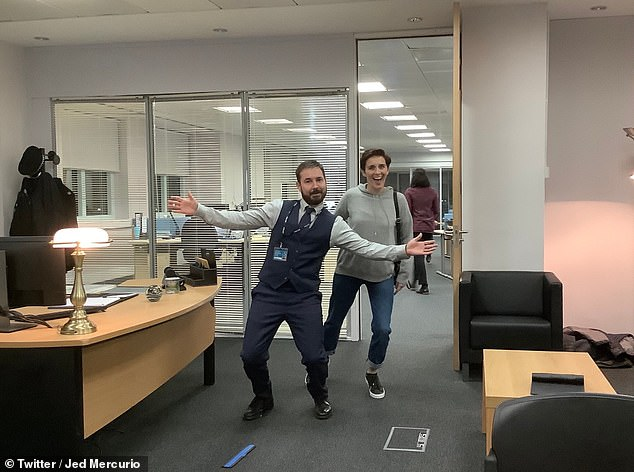 Funny:Line Of Duty's Vicky McClure and Martin Compston risked the fury of Superintendent Hastings on Wednesday as they enjoyed some downtime in his office in hilarious on-set snaps