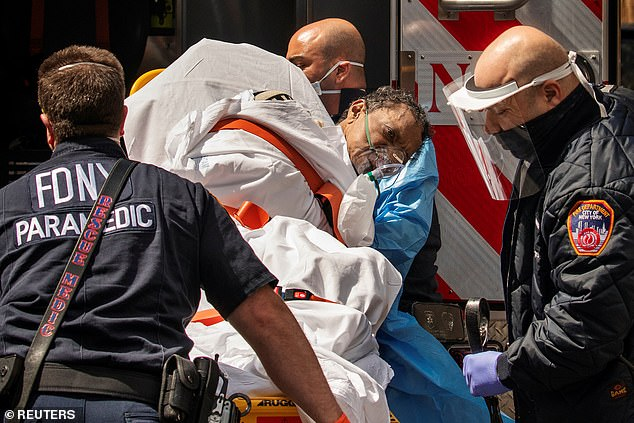 FDNY firefighters and paramedics answered countless calls for coronavirus sufferers during the spring peak of the pandemic in New York City, and more than a third of them likely became infected themselves (file)