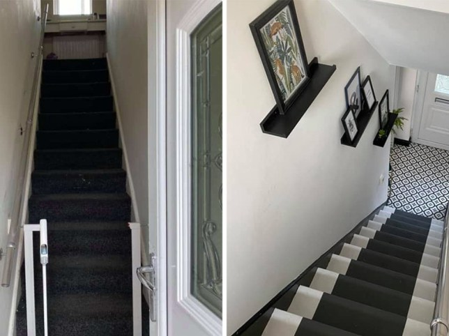 a mum's staircase before and after her DIY makeover