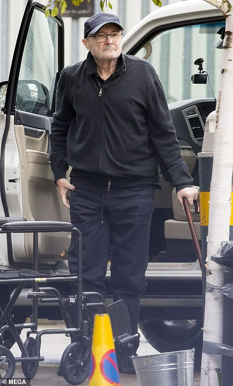 Frail: Phil Collins appeared frail as he arrived at a music studio in LA to meet his Genesis bandmate Mike Rutherford