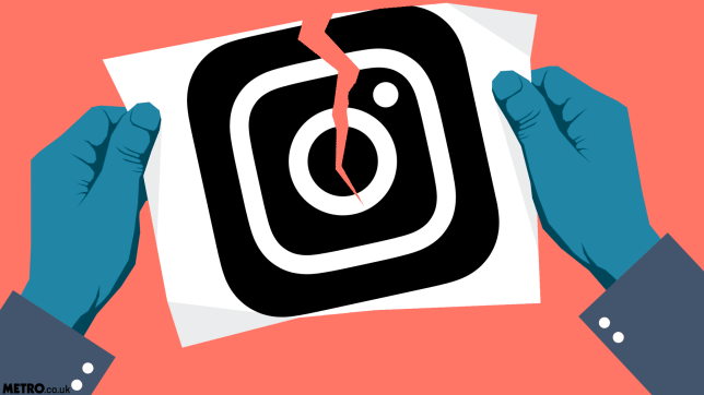 An illustration of someone ripping up the Instagram logo