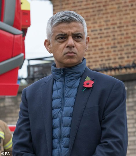 Sadiq Khan has called for a national circuit breaker without further delay, as data shows the c oronavirus is spreading fastest in London. He is pictured yesterday meeting firefighters at Old Kent Road fire station in Southwark