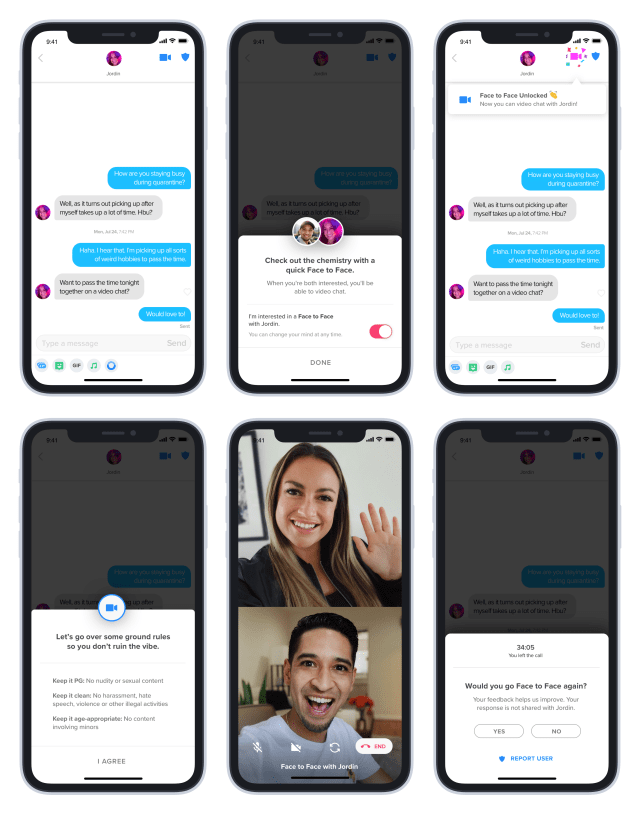 Tinder's new 'Face to Face' video chat feature (Tinder)