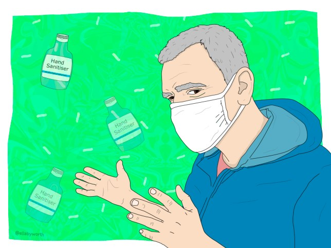 Illustration of an elderly person with a face mask and bottles of hand sanitiser in the background