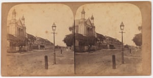 Macquarie Street, taken from the corner with Hunter Street, looking south. St Stephen's Presbyterian Iron Church is on the left