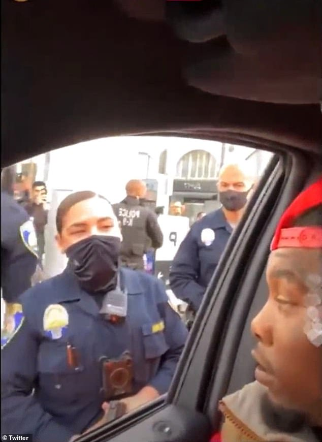 Altercation:Cardi B's husband Offset, 28, was detained and then released by police on Saturday after allegedly 'waving guns at people' while driving by a Trump rally in Beverly Hills
