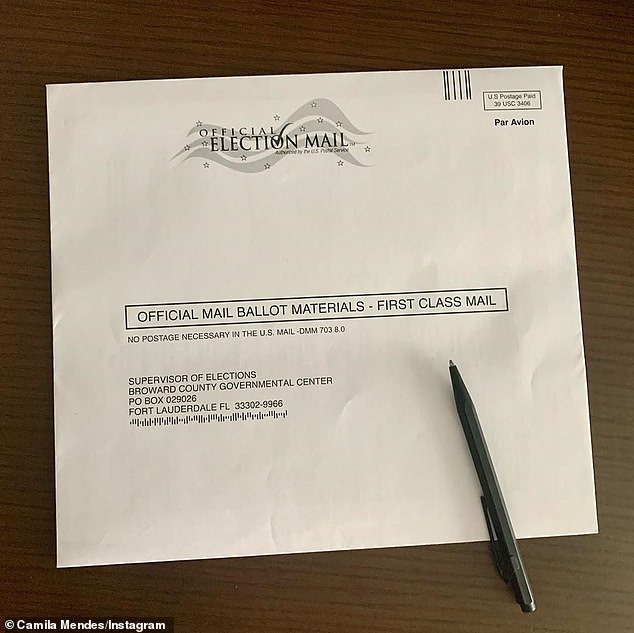 She filled hers out: Camila Mendes shared a look at her official mail ballot