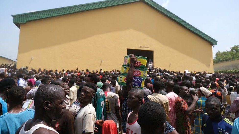 People at a warehouse in Nigeria