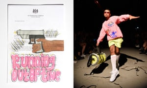 Left: Covid Letter by Ruby, 14, Manchester. Right: Clothes from his Sports Banger label.