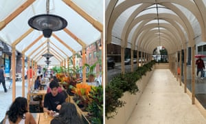 Left: Re-Ply street furniture in use at the Wayan restaurant, New York. Right: newly opened Neuehaus outdoor coworking space.
