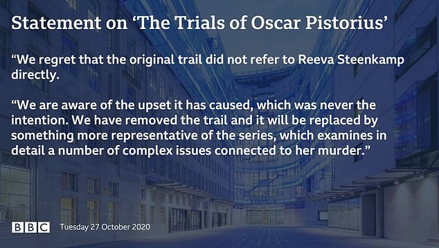 The BBC announced in a statement this evening: 'We have removed the trail for The Trials of Oscar Pistorius that was posted on social media earlier today'