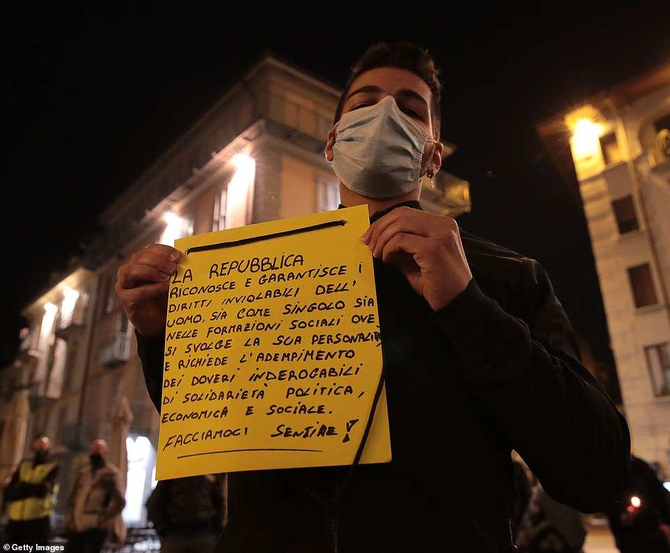 Business owners organized a staged funeral to protest against the lockdown imposed by the Italian government in Como, Italy