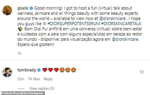 No words:Tom appeared to have been left speechless by the post, so he simply commented on it with a string of red hearts and lovestruck emojis