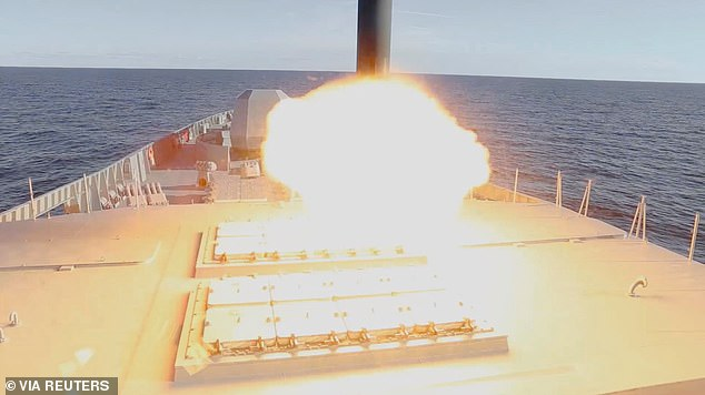 The hypersonic Zircon missile is fired out of a hatch in the upper deck of a Russian frigate during testing in the White Sea last year